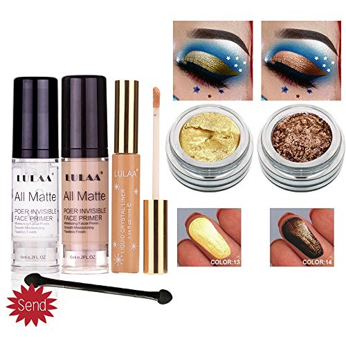 Zlolia Metallic Shiny Smoky Eyes Eyeshadow Waterproof Glitter Liquid Eyeliner-Professional Vegan Long Lasting Shimmer Silky Powder Shades Cosmetics Set