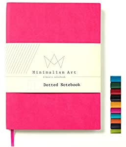 """Minimalism Art   Soft Cover Notebook Journal, Size:5.8""""X8.3"""", A5, Berry, Dotted Grid Page, 192 Pages, Fine PU Leather, Premium Thick Paper - 100gsm   Designed in San Francisco"""
