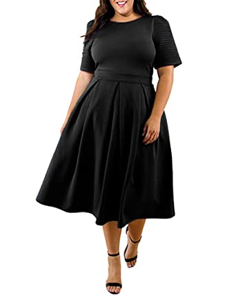 Lalagen Womens Plus Size 1950s Vintage Cocktail Dresses Flare Swing Midi Dress - Black - X