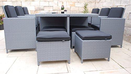 Ragnarök-Möbeldesign - Juego de muebles de jardín de polirratán de marca alemana y producción propia, resistentes a los rayos UV, compuesto por una mesa de comedor, 6 sillas, 4 taburetes y 16
