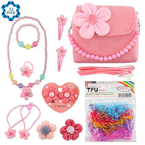 - SOTOGO Plush Purses Flower Handbag Set with Hair Clip Necklace Bracelet Set and Earrings Ring Small Brooch Rubber Band Set for Little Girls and Toddlers