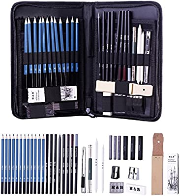 40 Set Sketching Drawing Art Kit Wooden Pencil Storage Case Art Supplies Student