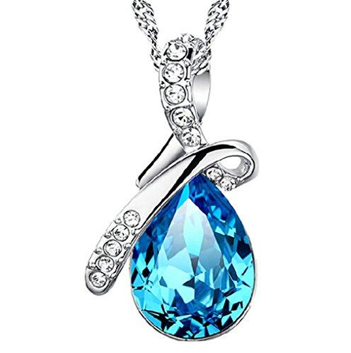 Damen Halskette mit Anhänger 925 Sterling Silber Engel tränenförmige Blau Zirkonia als Valentinstag Geschenk--Anhänger +Kette