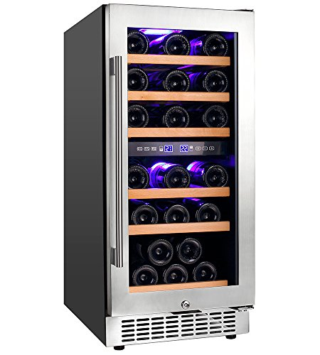 Aobosi Wine Cooler Refrigerator with 30 Bottles Dual Zones,Classy Look, Stainless Steel & Reversible Glass Door,and LED Display | Thermostatic Wine Refrigerator for Red and White Wine, Champagne by Aaobosi
