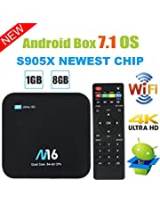 TV Box Android 7.1 - VIDEN Smart TV Box Amlogic S905X Quad Core, 1GB RAM & 8GB ROM, 4K*2K UHD H.265, HDMI, USB*2, 2.4GHz WiFi, Web TV Box, Android Set-Top Box [Versión Mejorada]