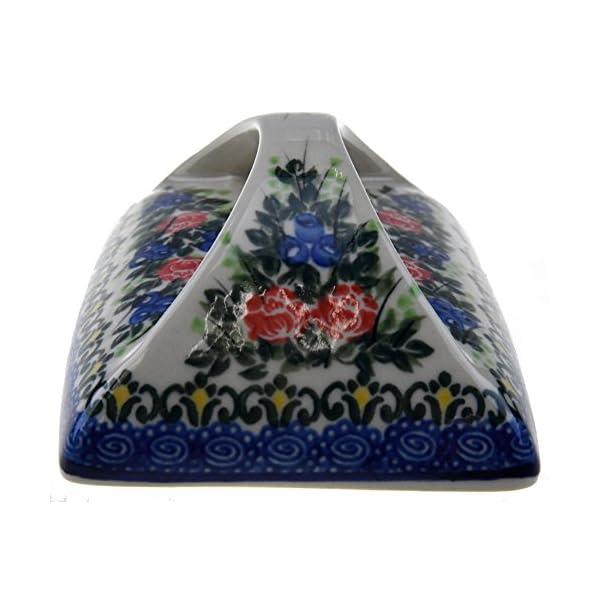 Ceramika Boleslawiecka Kalich Polish Handmade Decorated Flowers Butter Dish 5-3/4 x4-3/4 x3-1/2 Inch