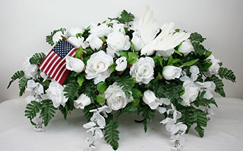 XL Beautiful White Roses With Wisteria Cemetery Tombstone Saddle