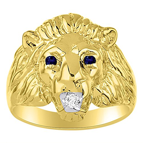 Lion Head Ring set with Genuine Diamond in mouth & Natural Sapphires in eyes Yellow Gold Plated over Silver (Lion Head Ladies Ring)