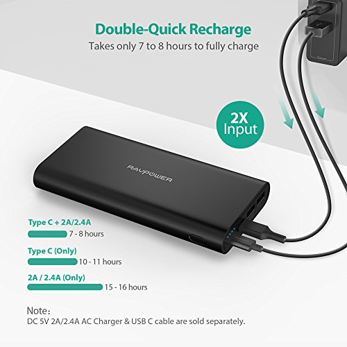 USB C Portable Charger RAVPower 26800mAh Battery Pack with Dual Input Port and Double-Speed Recharging, External Phone Charger 2 USB Ports for iPhone, iPad, Galaxy, Android and other Smart Devices by RAVPower (Image #1)