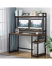 Biurko komputerowe z półkami do przechowywania, stacją roboczą, biurko do nauki z domkiem i półką na książki, stojak na monitor (rustykalny brąz)