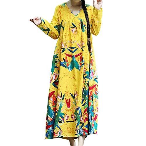 Sweatshirts for Women,Kulywon Womens Winter Warm Paisley Long Sleeve O Neck Printed Maxi Dress Kaftan Dress(XXL/US 10,Yellow)