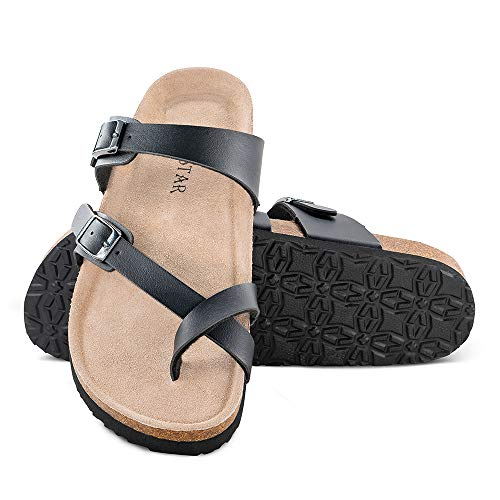 TF STAR Mayari Leather Sandals,Adjustable Flat Casual Slippers for Women & Ladies, Flip-Flops Ring Open Toe Slide Cork Footbed for Teenagers/Girls Black