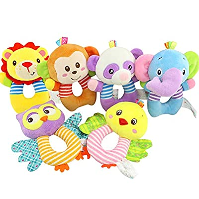 Cute Cartoon Baby Rattle Baby Owl Type Handbell Plush Stuffed Animal Shaker Toy Ring Rattle Baby Toy Gift for Baby : Baby