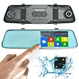 "HD Front and Rear Dash Camera | 1296P Mirror Dash Cam Pro 13MP | 5"" Touch Dual View Dashcam with SONY Night Vision, Backup Parking and Loop Recording 