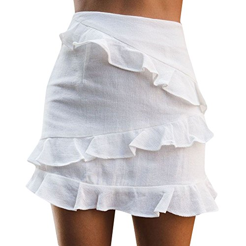 (Colmkley Fashion Ruffle High Waist Short Mini Skirt for Women Ladies Solid Color White)