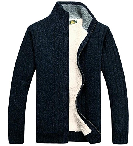 Zipper Men's Sweater amp;W 5 Winter Fleece Full M Lined Cardigan amp;S gXqETa