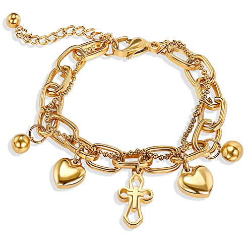 Cross Heart Stainless Steel Bracelets Adjustable Double-Deck Chain Charm Love Gold Long Bangle Bracelets for Women Girls ()