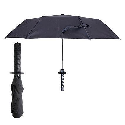 Fairylove Samurai - Paraguas Plegable con Mango de Espada Japonesa, Protección UV, Resistente al