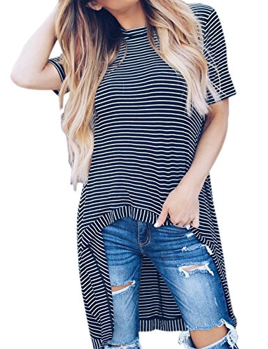9795cb818cd Haola Women s High Low Tunic Tops Casual Loose Short Sleeve Striped T-Shirt  Blouse (