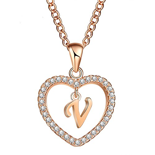 - Newly Style 2019 Necklaces & Pendant for Women Girl Fashion Long Chain Heart Necklaces Cubic Zirconia DIY Jewelry Gifts Rose Gold Color
