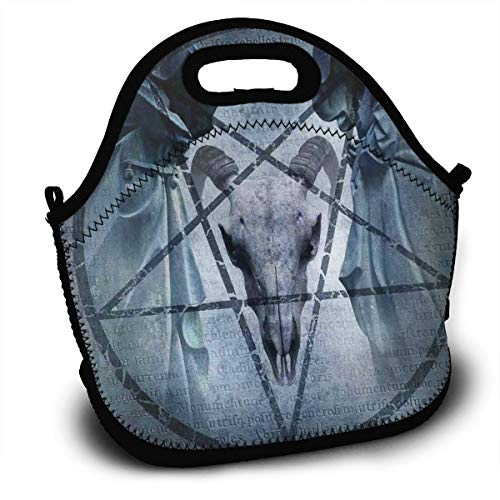 Kuyanasfk Pentagram Goat Skull Devil Dream Lunch Bag Insulated Lunch Box Waterproof Lunch Tote Bag for Women Kids Boys Girls and Men with Shoulder Strap]()