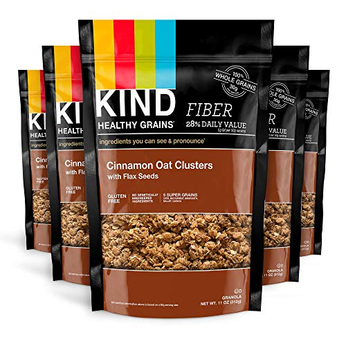 Crunch Cinnamon Granola (KIND Healthy Grains Clusters, Cinnamon Oat with Flax Seeds, Gluten Free, 11 Ounce Bags, 6 Count)