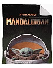 EXPRESSIONS Kid's Sherpa Throw Blanket Baby Yoda Star Wars The Mandalorian 60x80 inch Reversible Cozy Plush Soft Blanket for Boys (Official Star Wars Product)