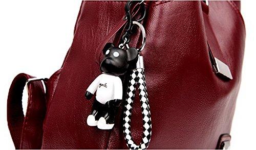 dos Zippers Rouge Femme à Mode sacs Sacs Aller l'école Des AllhqFashion Vineux à q6v55