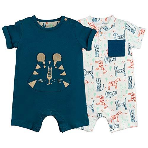 Baby Boys Romper Set 2-Pack Cheetah Print Short Sleeve Rompers, 3 Month Boys Short Sleeve Romper