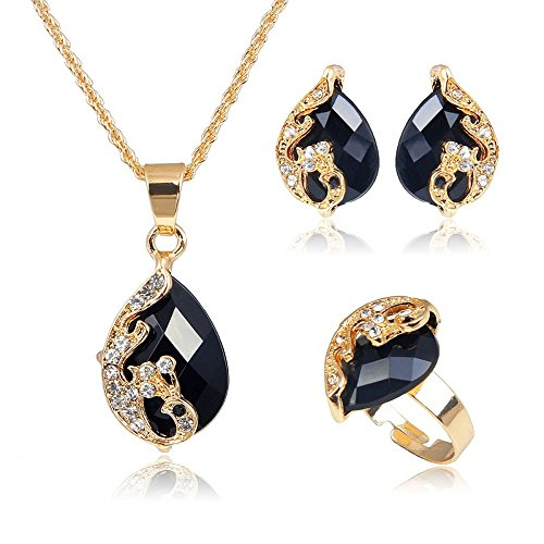 Liffly Fashion Water Drop White Blue Black Red Crystal Jewelry Necklace Earrings Ring Set (Black)