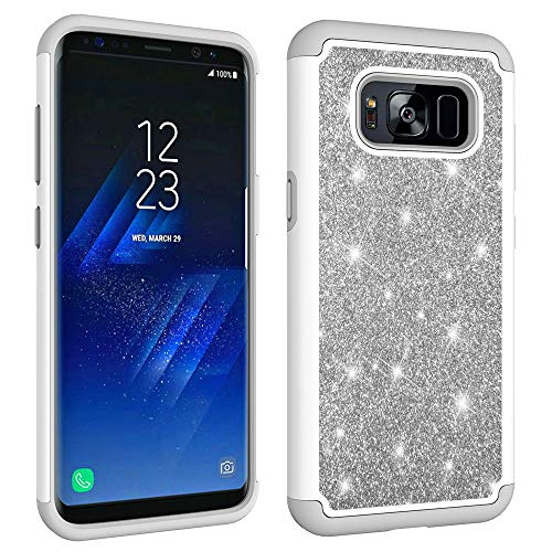 Case Hard Bling Plastic (Aiyze Compatible Samsung Galaxy S8 Case [Heavy Duty] Tough Dual Layer 2 in 1 Rugged Rubber Silicone Hybrid Hard Plastic Soft TPU Back Protective Cover Glitter Powder Bling - Grey)