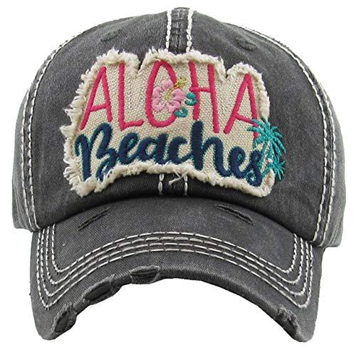 - H-212-AB06 Distressed Baseball Cap Vintage Dad Hat - Aloha Beaches (Black)