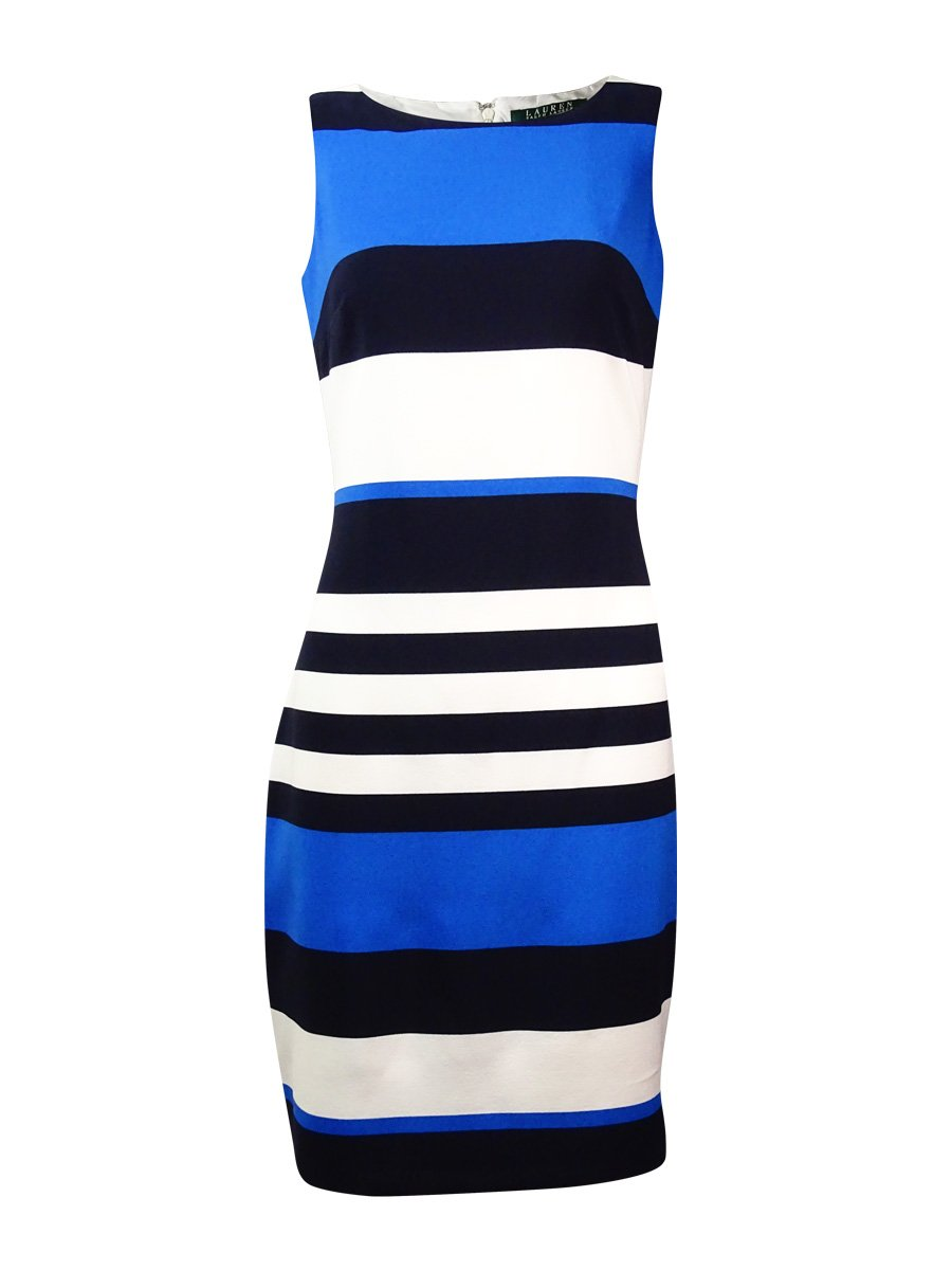 Lauren Ralph Lauren Womens Striped Sleeveless Wear to Work Dress B/W 14