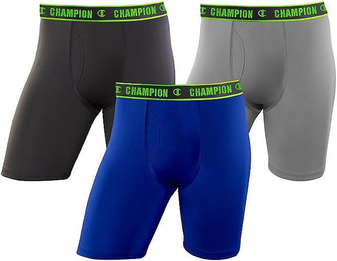 Champion Mens 3-Pack Active Performance Long Leg Boxer Briefs