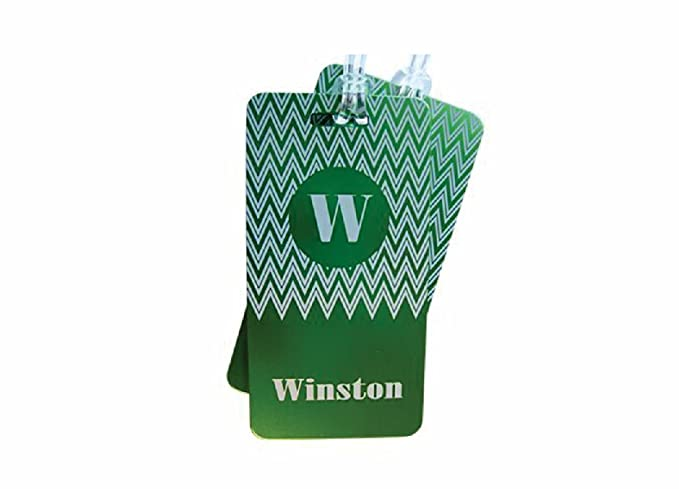 dae4e5845c3f Pair of Luggage Tags (2) Jumbo Aluminum Engraved Front & Back ZigZag