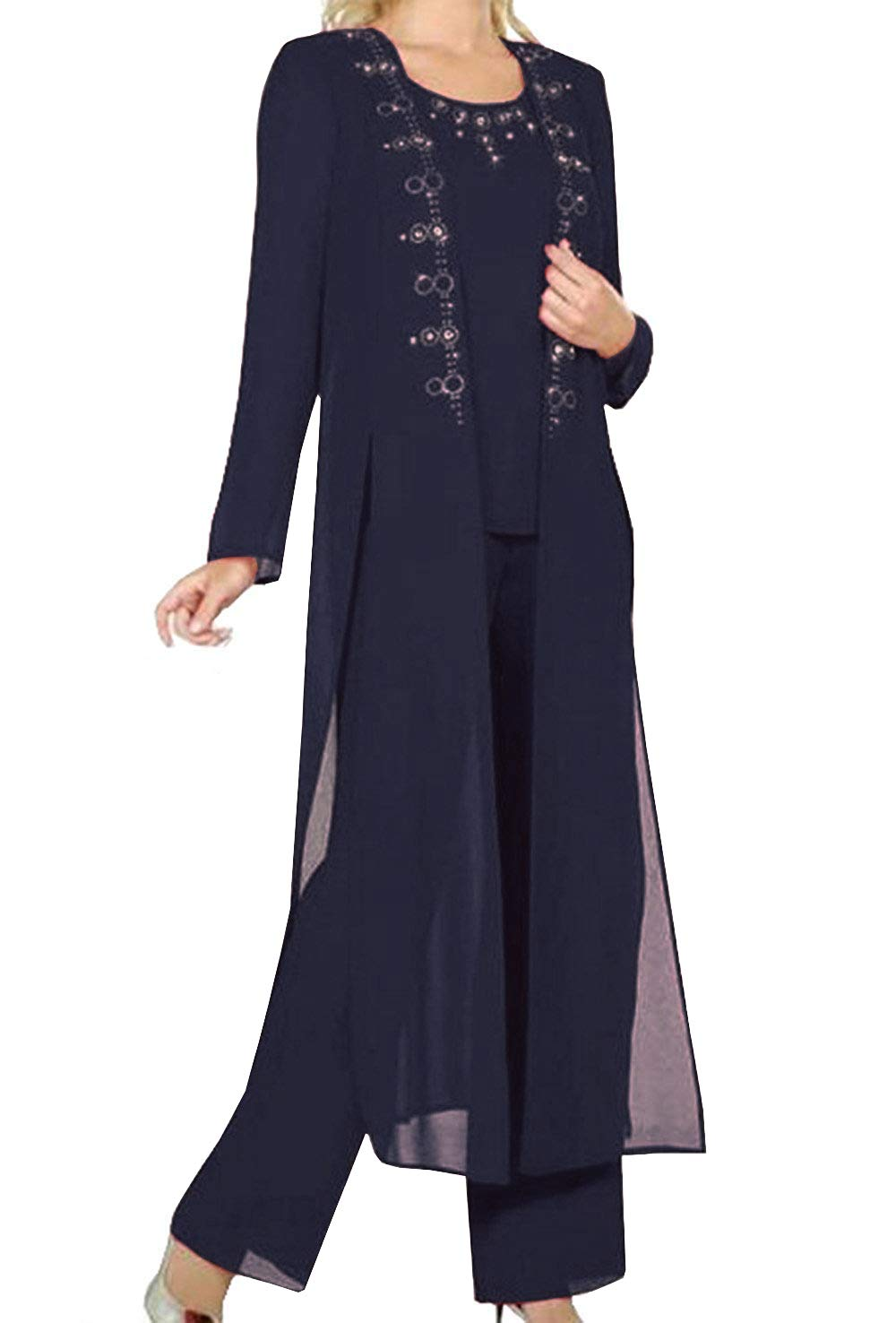 0a2ca5418d1 Fitty Lell Women s Navy Chiffon 3-Pieces Mother of Bride Pant Suit Beaded  Women Formal Gowns(US16