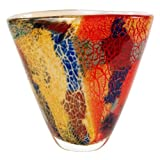 "blown glass vases  Hand Blown Multicolor Abstract Art Glass Vase 8"" tall"