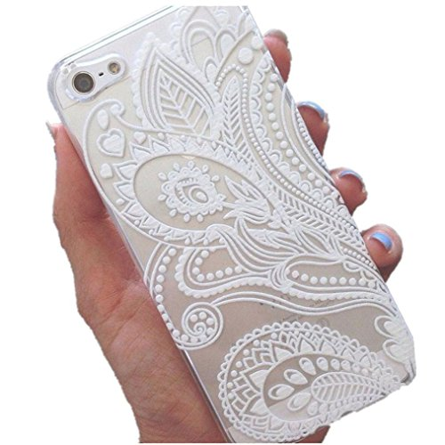 Fashion Henna White Floral Aobiny Cell Phone Case Flower Plastic Mobile Cover Phone Skin for iPhone 5 5S SE