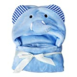 Lovely Soft Coral Fleece Baby Towel Baby Bath Towels Cartoon Animal Pattern Baby Towel 0-24 Months(Blue Elephant)