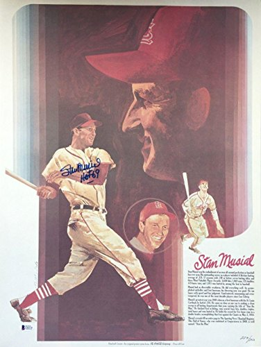 Stan Musial St. Louis Cardinals Signed 18x24 Coca Cola Lithograph HOF 69 BAS - Beckett Authentication