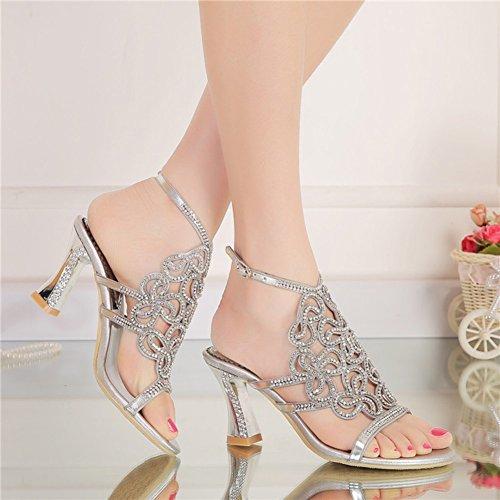 Große 44 Heel Lady 34 Sandalen Größe Größe Diamant Größe High High Silber Kleine Sandalen CAI Sommer 42 Sandaletten Heels Schuhe Strass w7nq61