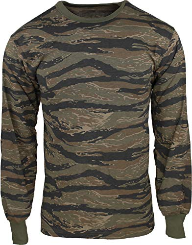 Army Universe Tiger Stripe Camouflage Long Sleeve Military T-Shirt Pin - Size Small (33