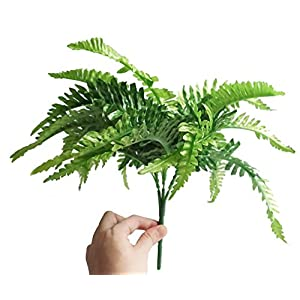 Fake Faux Artificial Boston Ferns Plants Greenery Bushes for Indoor Outside Home Garden Party Decor 4 Bunches 24 Leaves Per Bunch 5