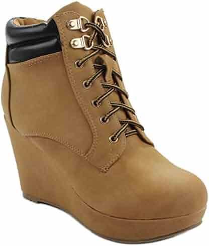 866d7dd20 JoJo10 Fashion Combat Lace Up Platform Casual Sneaker Wedge Bootie Boots