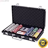 COLIBROX--Poker Chip Set 300 Dice Chips Texas Hold'em Cards with Black Aluminum Case New. 300 pc poker chip set. professional poker set. cardinal professional poker chips. poker set amazon.