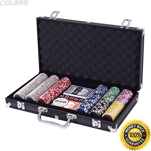COLIBROX--Poker Chip Set 300 Dice Chips Texas Hold'em Cards with Black Aluminum Case New. 300 pc poker chip set. professional poker set. cardinal professional poker chips. poker set amazon. by COLIBROX
