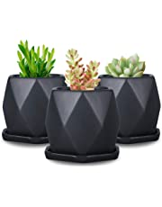 SQOWL Ceramic 4inches Geometric Succulent Planter Pots with Removable Saucer,Set of 3