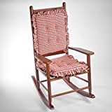 square gingham ruffle rocking chair cushions red - Rocking Chair