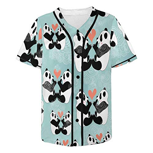 INTERESTPRINT Men's Love Pandas Baseball Jersey Button Down T Shirts Plain Short Sleeve XL