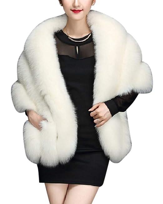 Kasen Mujer Elegante Abrigo Chaqueta Mullido Mantón Caliente Piel Artificial Outwear Blanco One Size: Amazon.es: Ropa y accesorios